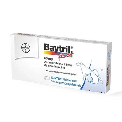 Antibiótico Bayer Baytril Flavour Enrofloxacino 50mg 10 Comprimidos