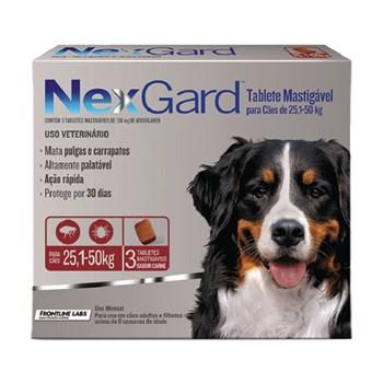 Antipulgas e Carrapatos NexGard 136mg para Cães 25,5 a 50 kg