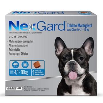 Antipulgas e Carrapatos NexGard 28,3mg para Cães 4,1 a 10kg