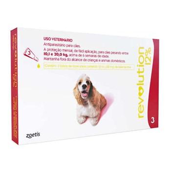 Antipulgas e Carrapatos Zoetis Revolution 12% 120mg para Cães de 10 a 20 Kg