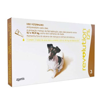 Antipulgas e Carrapatos Zoetis Revolution 12% 60mg para Cães de 5 a 10 Kg