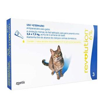 Antipulgas e Carrapatos Zoetis Revolution 6% 46mg para Gatos de 2,5 a 7,5 kg