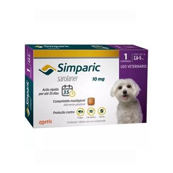 Antipulgas Zoetis Simparic 10mg para Cães 2,6 a 5Kg