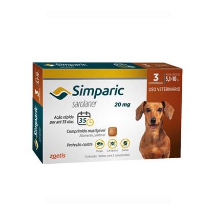 Antipulgas Zoetis Simparic 20mg para Cães 5,1 a 10Kg