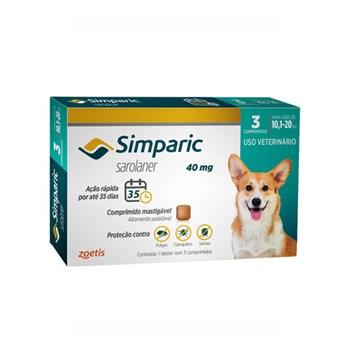 Antipulgas Zoetis Simparic 40mg para Cães 10,1 a 20kg