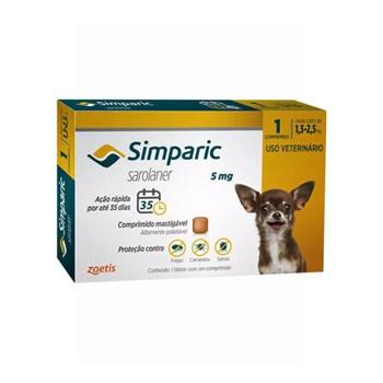 Antipulgas Zoetis Simparic 5mg para Cães 1,3 a 2,5Kg
