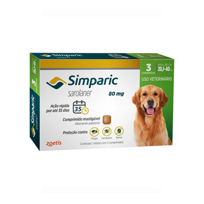 Antipulgas Zoetis Simparic 80mg para Cães 20,1 a 40kg
