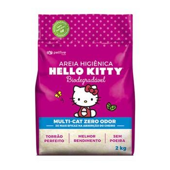 Areia Sanitária Hello Kitty Bio Fina Multicat Zero Odor Rosa 2kg