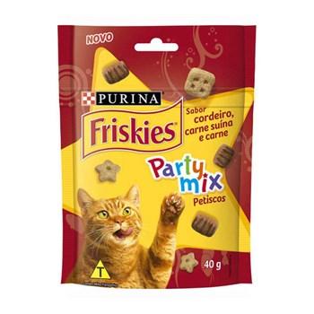 Petiscos Friskies Party Mix Cordeiro Carne Suína e Carne para Gatos 40g