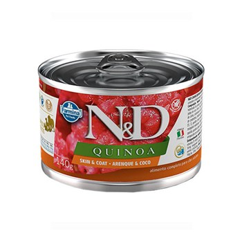 Ração Úmida Farmina N&D Quinoa Skin & Coat sabor Arenque e Coco para Cães com Peles Sensíveis