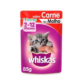 Ração Úmida Whiskas Sachê Carne para Gatos Gatos Filhotes 85g